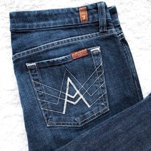 7FAM White Stitched 'A' Pocket Flare Jeans